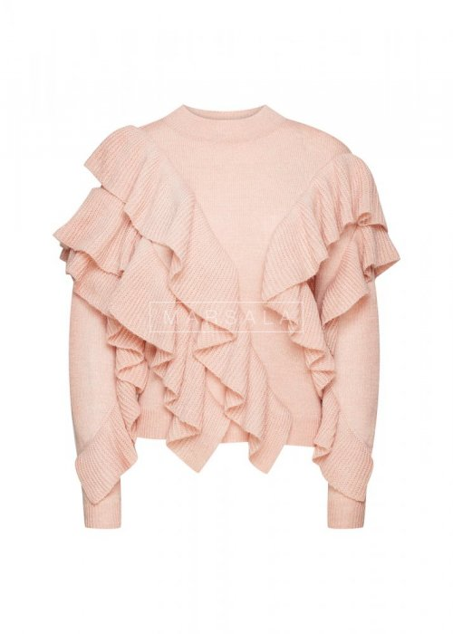 Sweter z asymetrycznymi falbankami brzoskwiniowy- FLAMENCO