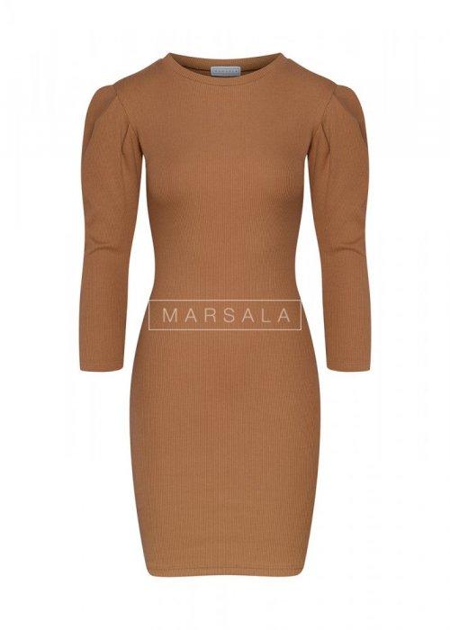 Sukienka dopasowana KYLIE z bufkami kamelowa