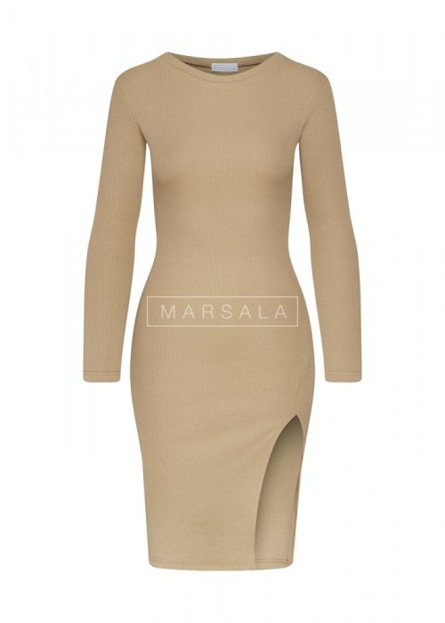 Fitted slit beige dress - KATIE BY MARSALA