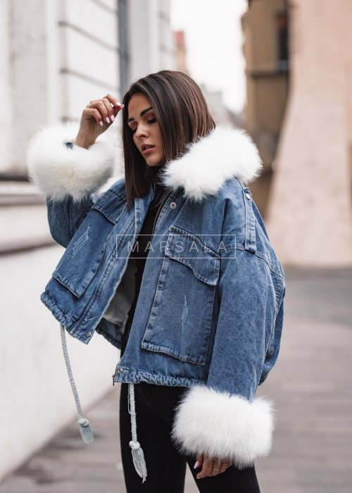 Kurtka jeansowa z białym futerkiem - KINGSTOM