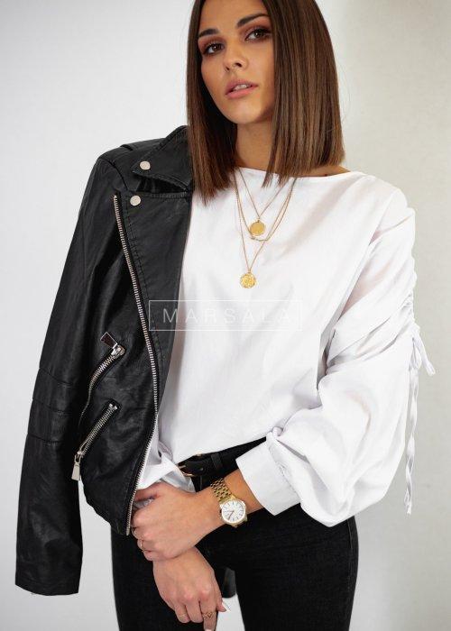 Bluzka z drapowanymi rękawami biała - LETICIA