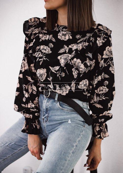 Bluzka w kolorze czarnym z nadrukiem w kwiaty - ALIZE PRINT