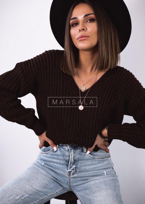 Sweter pleciony z dekoltem w kształcie V kolor czekoladowy - SALLY