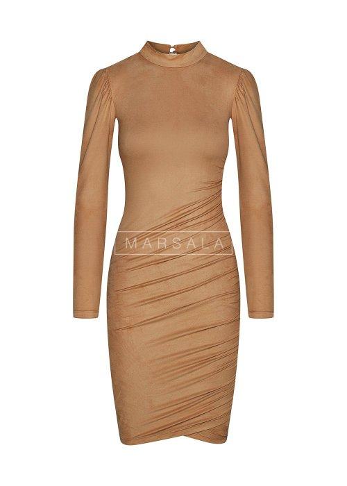 Sukienka z cienkiego zamszu w kolorze beżowym - SWANSEA BEIGE