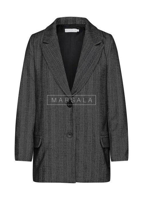 Krótki płaszcz jesienno - zimowy w kolorze czarnym z wzorem w jodełkę - DIVISION BY MARSALA