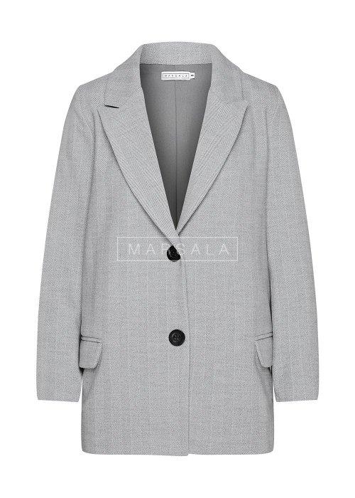 Krótki płaszcz jesienno-zimowy w kolorze szarym z wzorem w jodełkę - DIVISION BY MARSALA