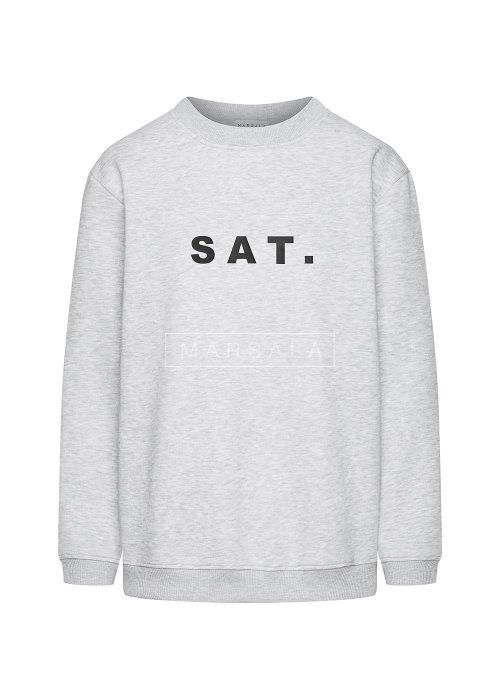 Grey sweatshirt with SAT print. BY MARSALA