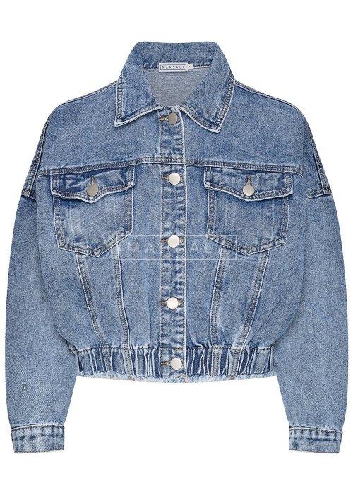 Kurtka jeansowa krótka oversize ze ściągaczem - NICKY