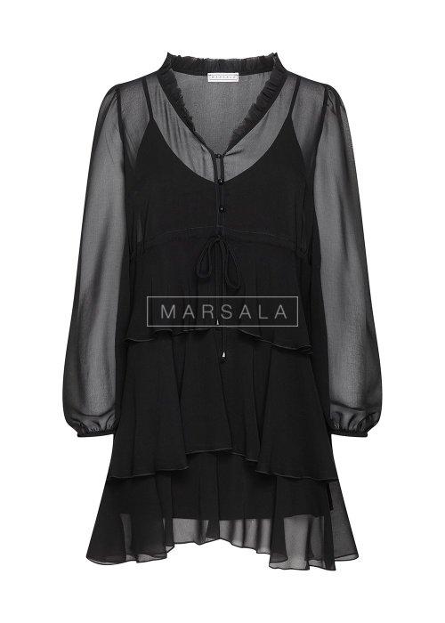 Sukienka w kolorze czarnym z prześwitami - EFFECT BLACK