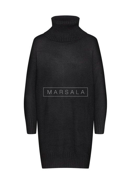 Długi sweter z golfem w kolorze czarnym - SWEATDRESS