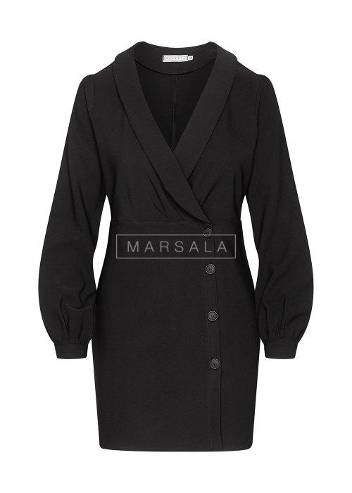 Sukienka koktajlowa gładka w kolorze czarnym z guzikami - FAMOUS