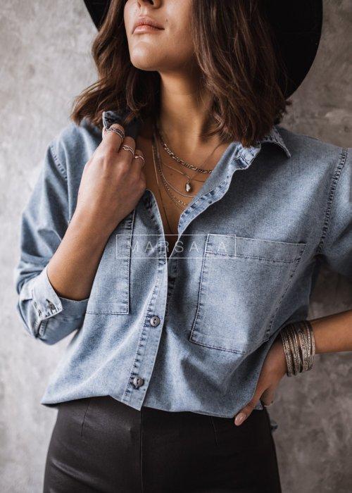 Koszula jeansowa o kroju oversize - SPENCER BY MARSALA