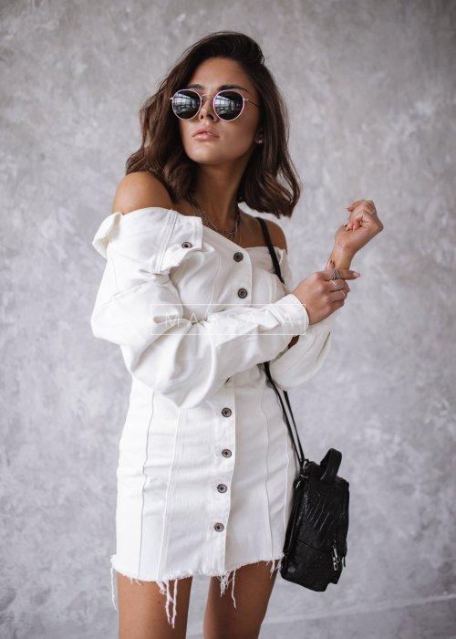 Sukienka mini z białego jeansu - HARRIET