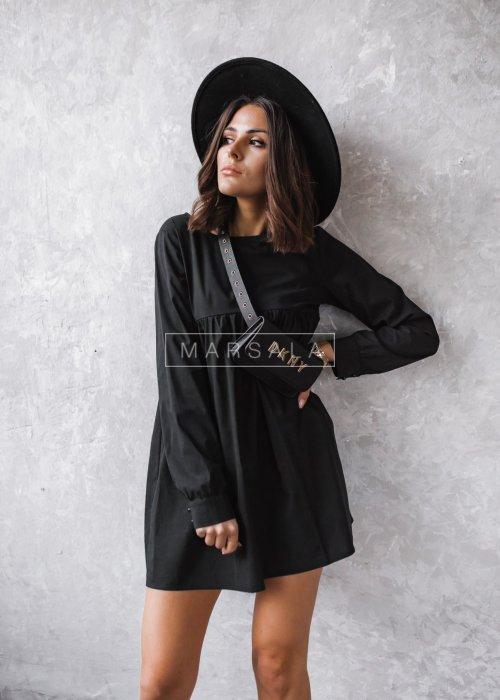 Sukienka w kolorze czarnym z długim rękawem - NATALY by Marsala