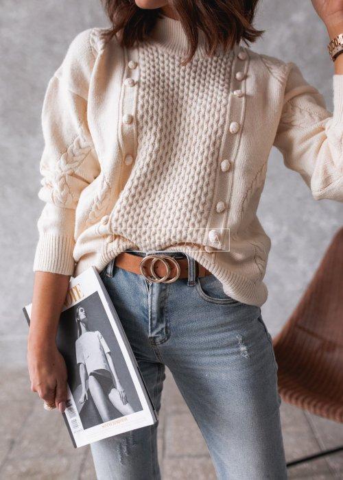 Sweterek beżowy z pólgolfem i ozdobnym tłoczeniem - WENDY