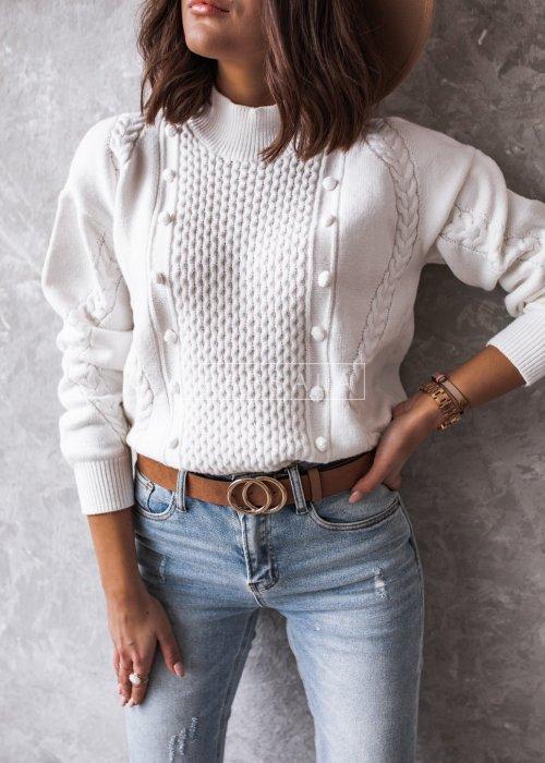 Sweterek ecru z pólgolfem i ozdobnym tłoczeniem - WENDY