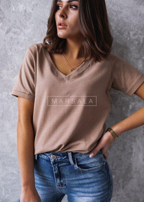 T shirt V NECK BASIC BY MARSALA mocca