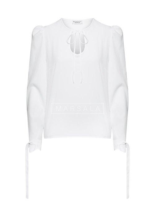 Bluzka gładka z wiązaniem i bufkami w kolorze białym - VENICE WHITE