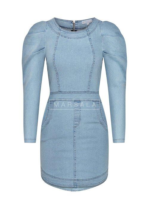 Sukienka sprany jasny jeans z bufkami SALEM
