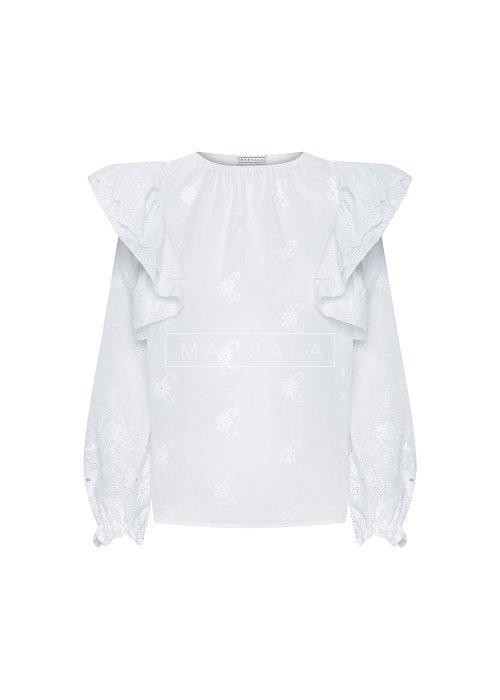 Bluzka ażurowa z falbankami na ramionach biała - TEA BY MARSALA