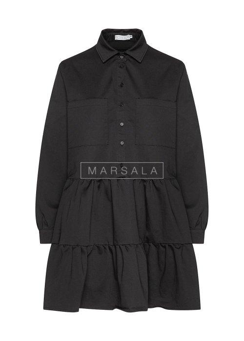 Sukienka koszulowa z falbankami czarna - NAME BY MARSALA