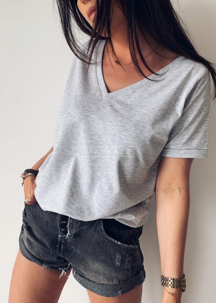 T shirt V NECK BASIC gray