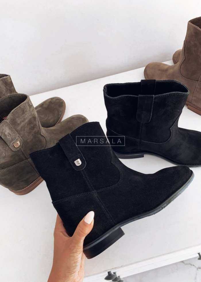 DELUXE black suede ankle boots