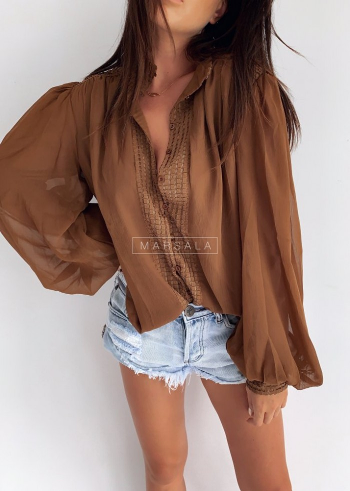 SMOKEY blouse with stand-up collar brown