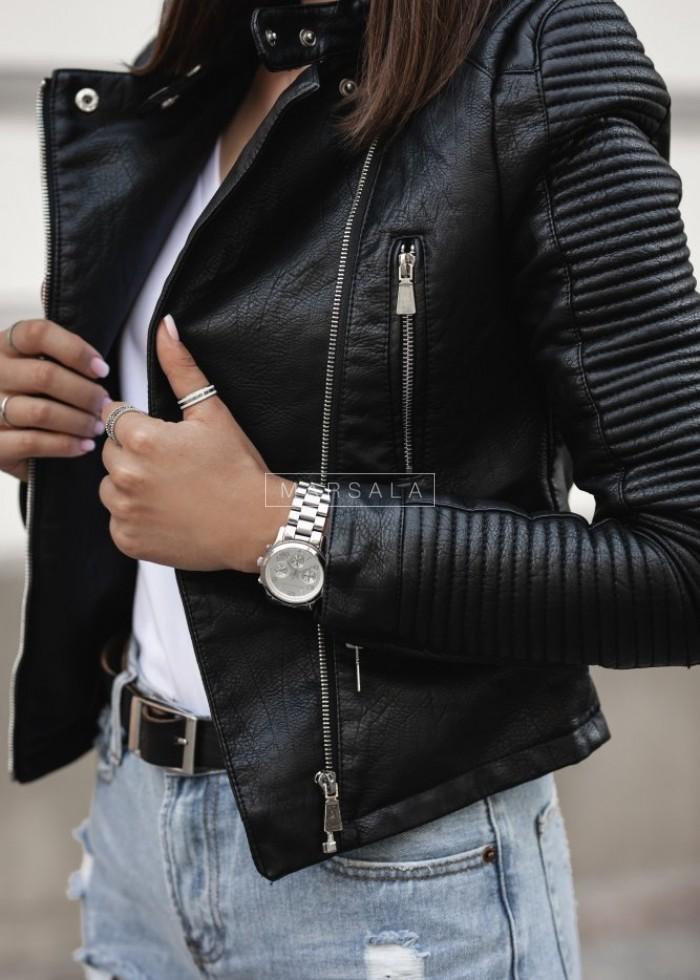 Black eco leather BIKER jacket