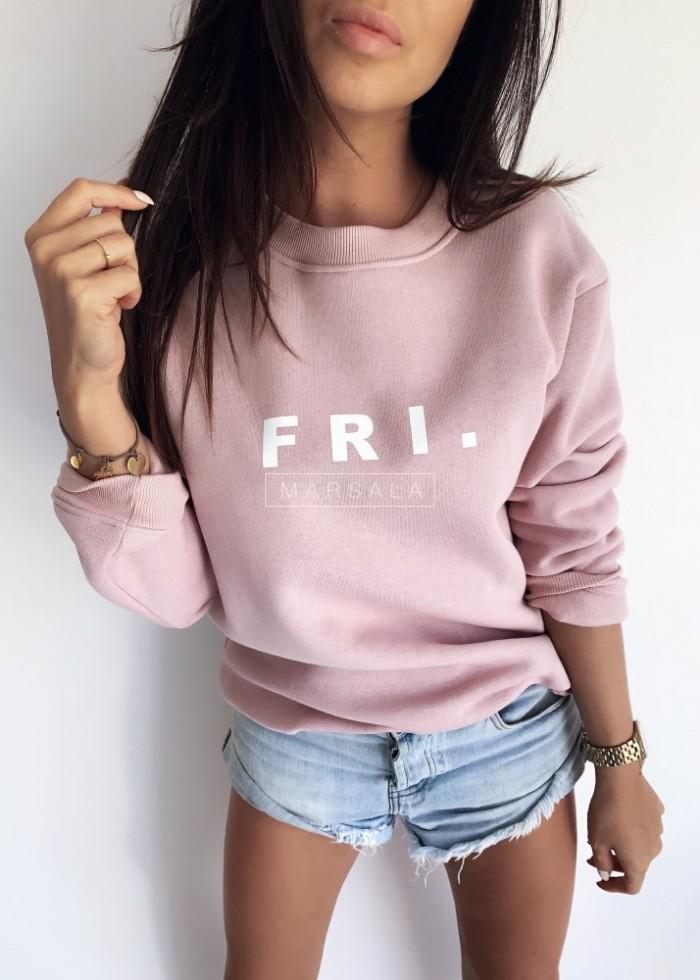 Pink sweatshirt with FRI print. BY MARSALA