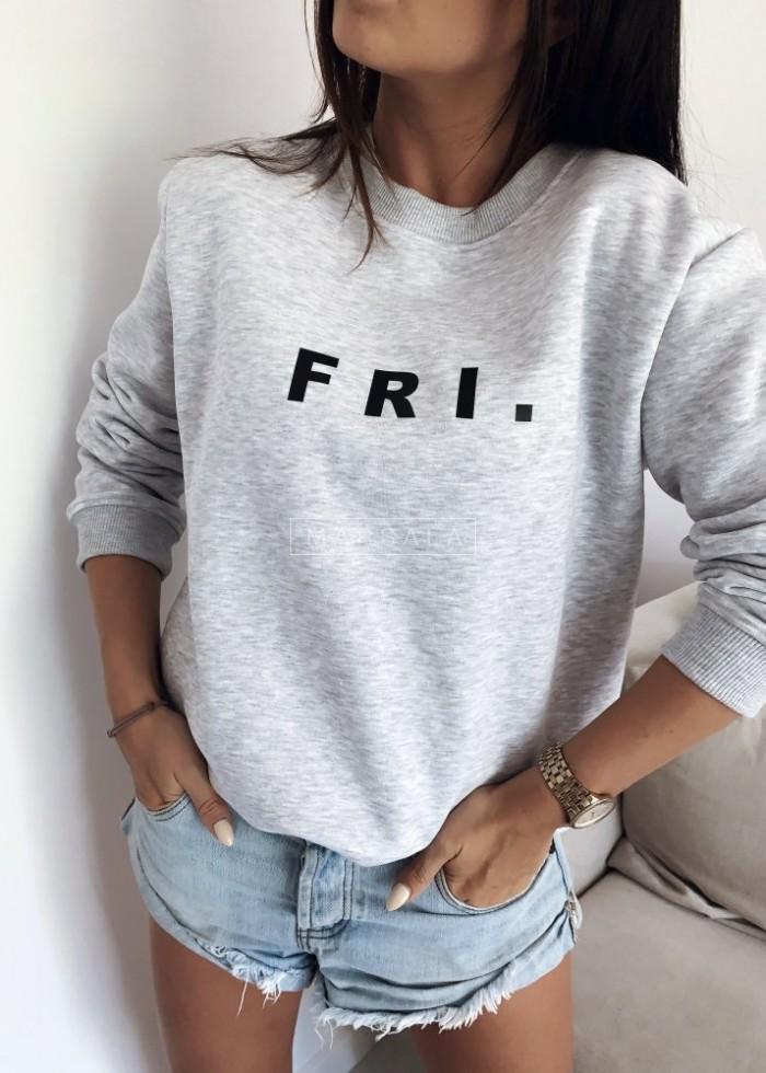 Grey sweatshirt with FRI print. BY MARSALA