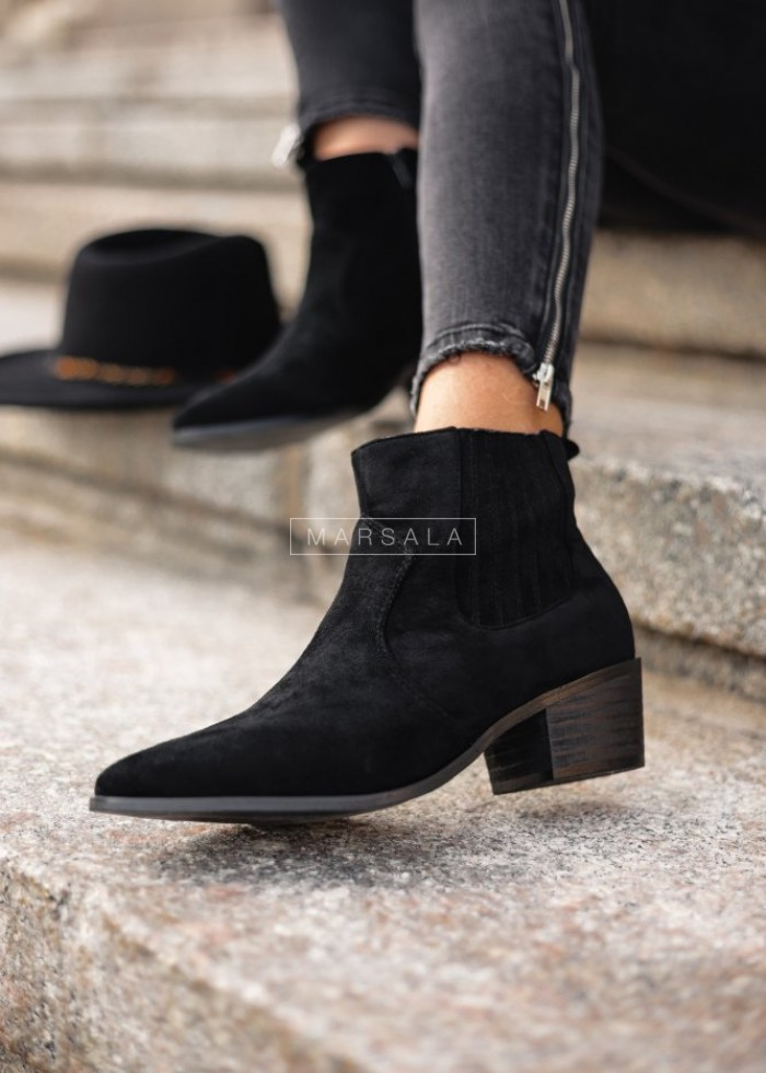 Black cowboy boots with rubber suede - SIMPLE BLACK