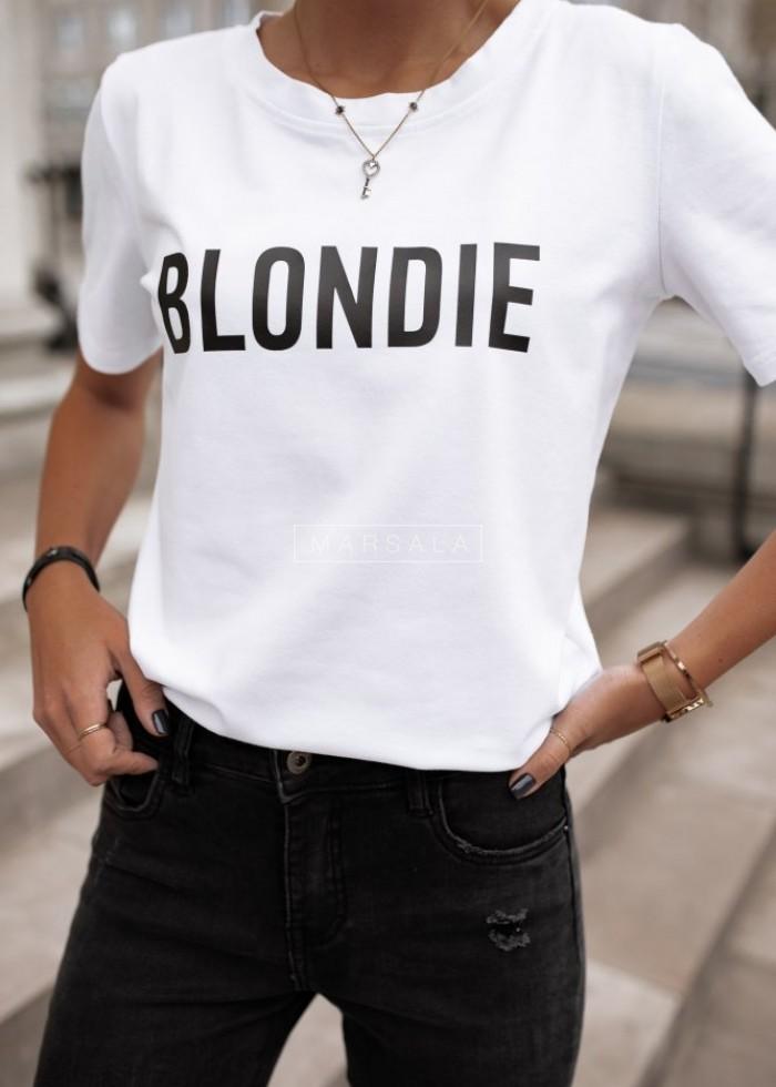 T-shirt damski w kolorze białym z nadrukiem BLONDIE