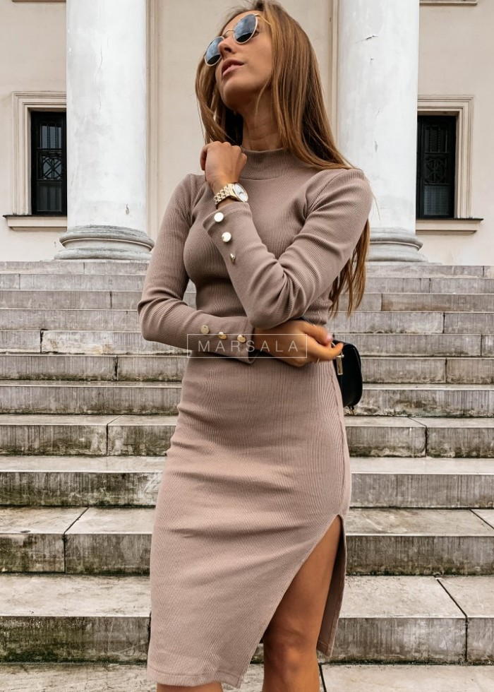 Mocca long sleeved dress - GOLD BY MARSALA