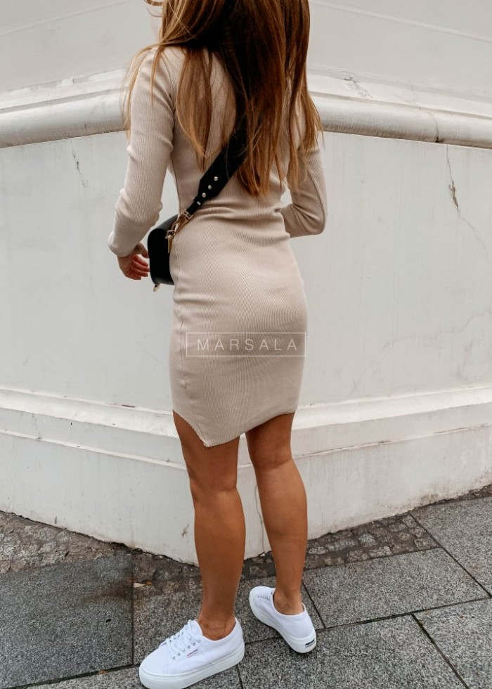 Fitted long sleeved dress in beige - PASSION BY MARSALA