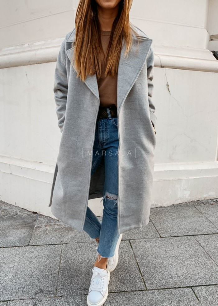 Long coat in grey with belt – GOSSIP