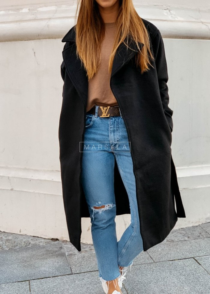 Long coat in black with belt – GOSSIP