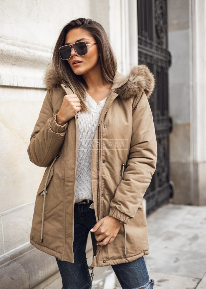 Beige winter jacket / parka with fur - STREETSTYLE
