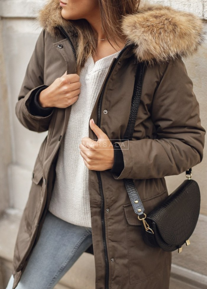 Long khaki winter jacket draped at the waist – ONLY