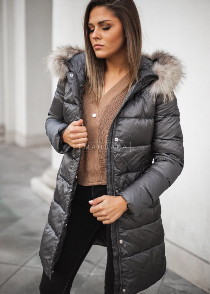 Hooded long, fitted fur winter jacket, graphite – LUXURY