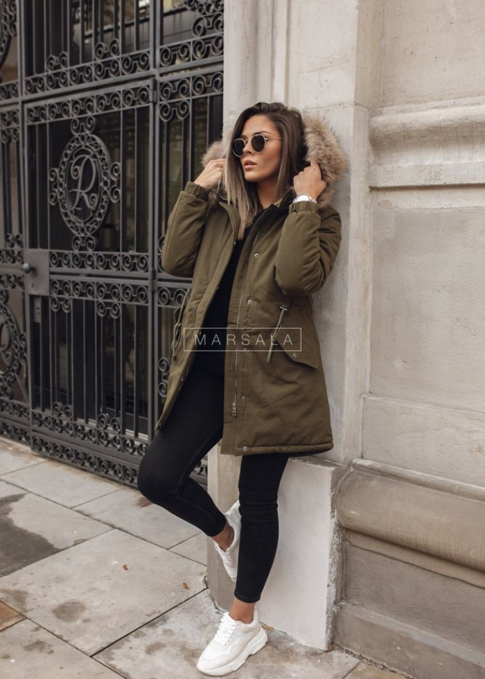 Khaki winter jacket / parka with fur - STREETSTYLE