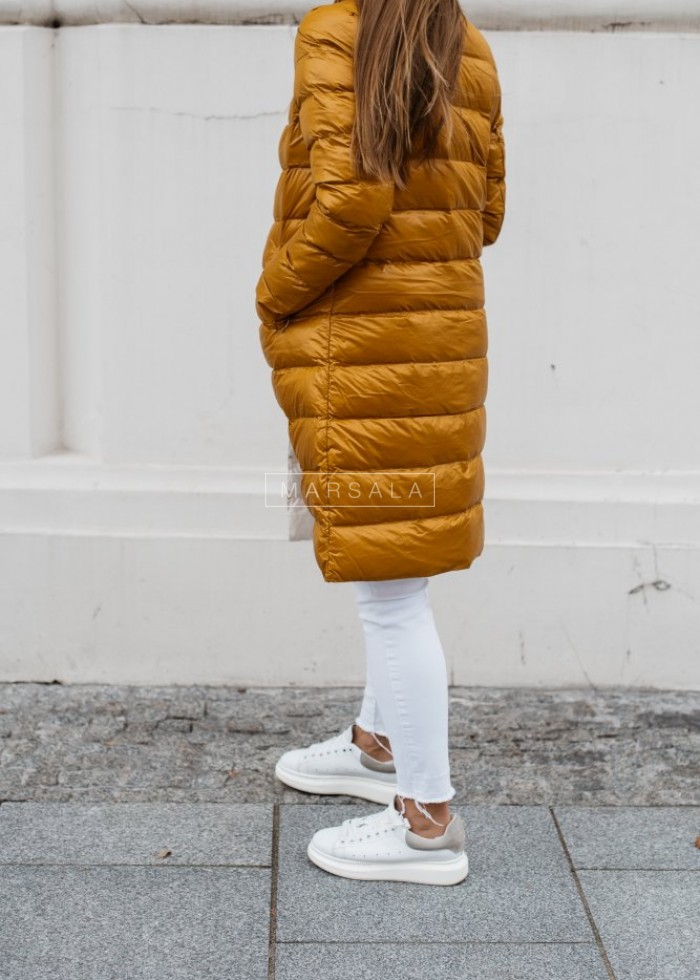 Hoodless quilted coat in mustard– ELITE