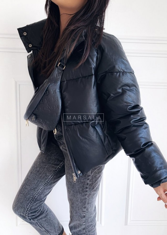 Down high collar jacket black eco leather– ALPINE
