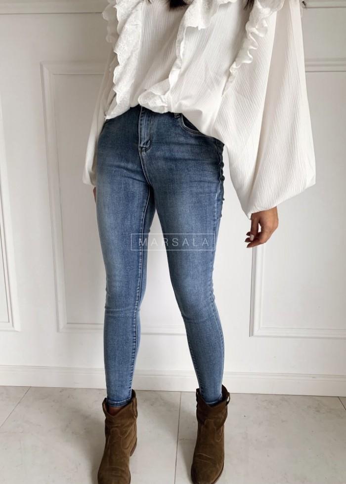Spodnie jeansowe dopasowane gładkie - DENIM JEANS