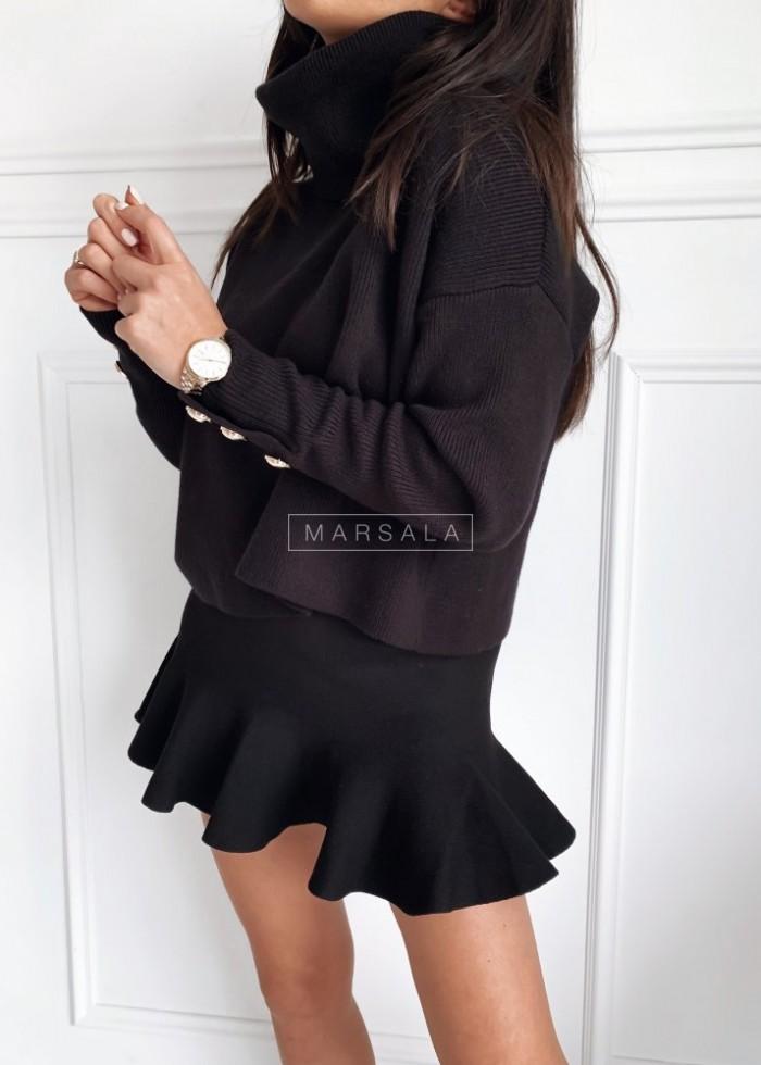Komplet ze swetrowej dzianiny golf + spódniczka czarny - ASTRID