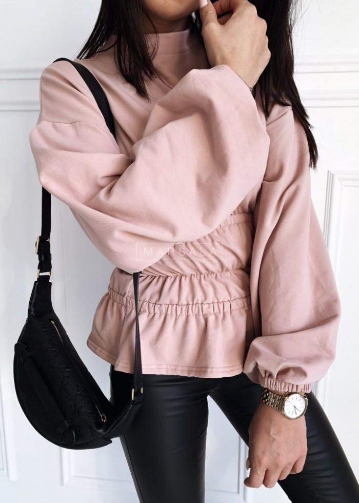 Bluza w kolorze pudrowego różu ze ściągaczami w pasie i falbanką - WAIST