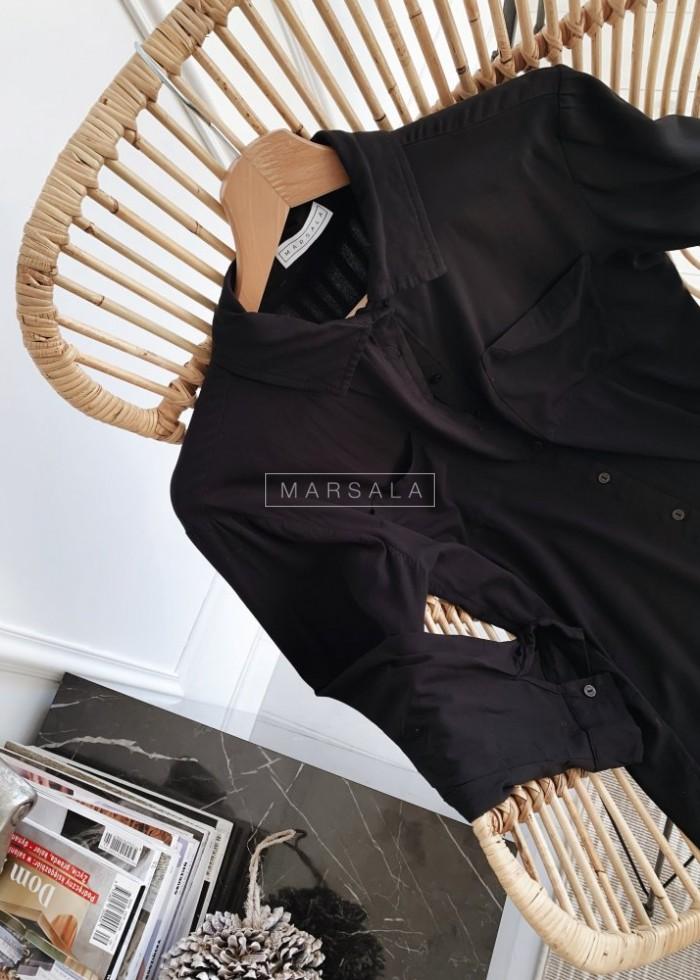 Koszula gładka w kolorze czarnym- PORTLAND BLACK by Marsala