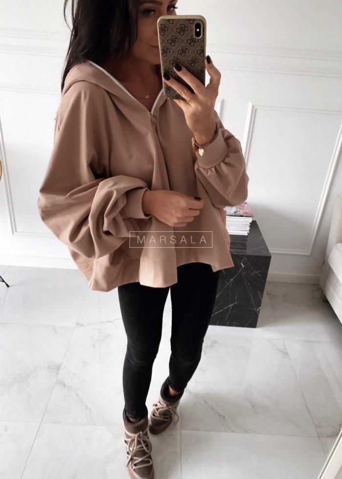 Bluza oversize w kolorze beżowym z suwakiem - BAT GIRL