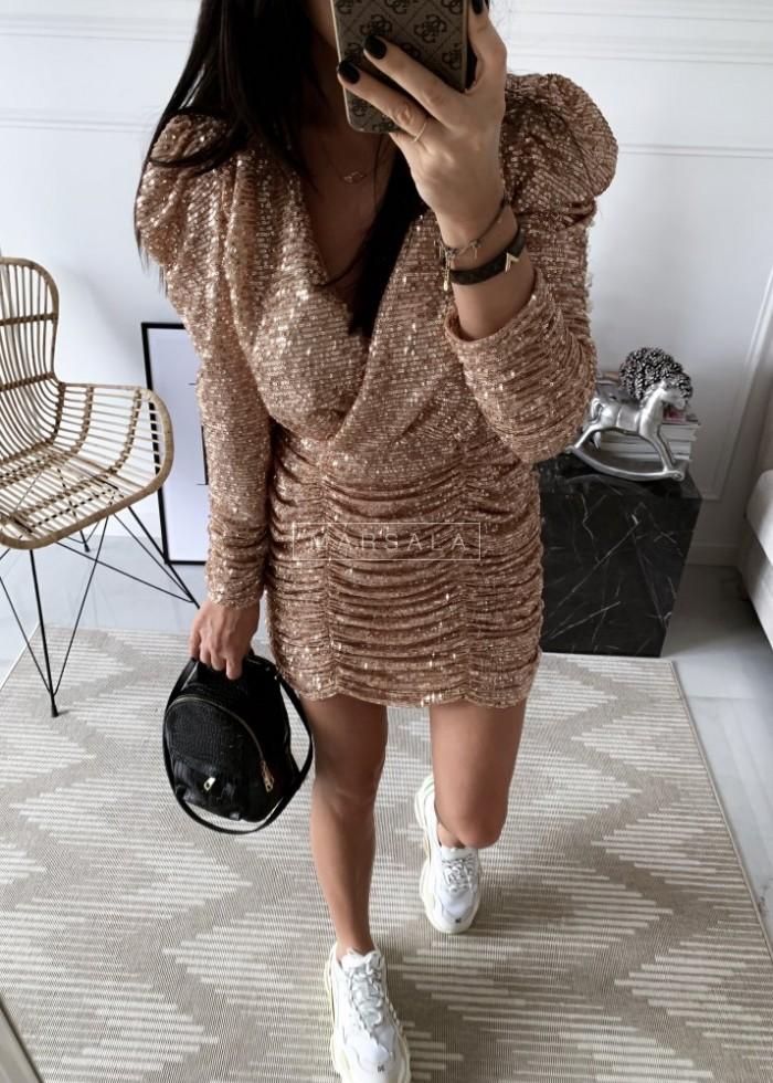 Sukienka z drapowaniem cekinowa złota - ELISSA ROSE GOLD