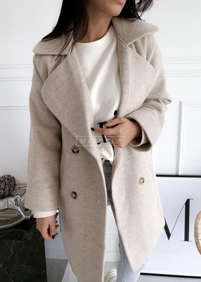 Płaszcz długi w kolorze beżowym z nadrukiem w jodełkę - JULIET